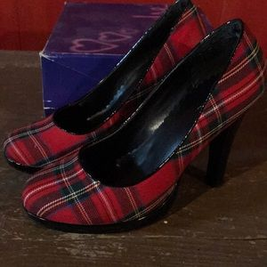 Pulse Shoes - Red Plaid High Heels